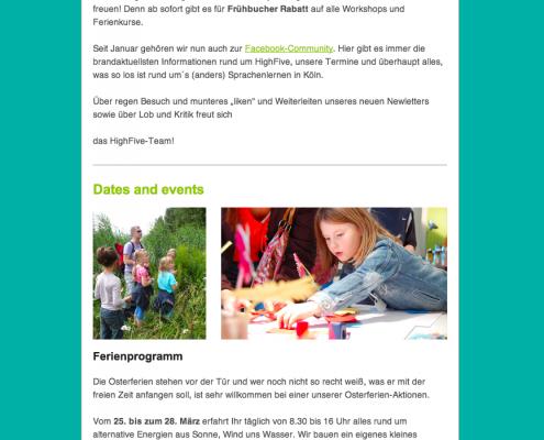 "Newsletter Kindersprachschule ""HighFive"""