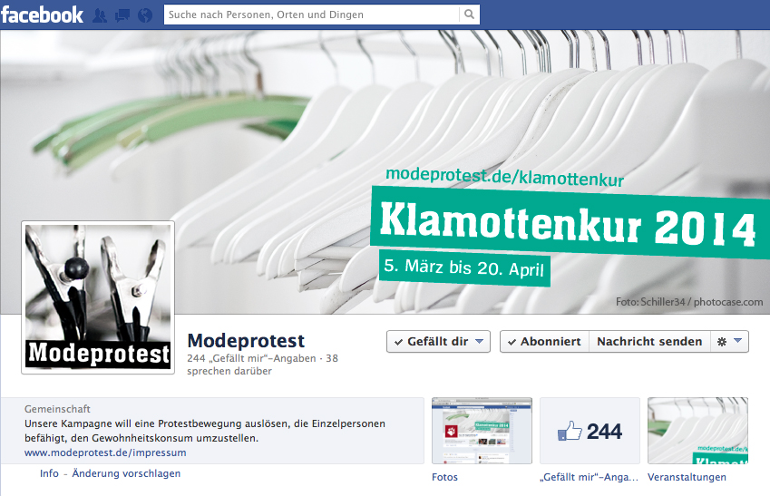 Modeprotest bei Facebook